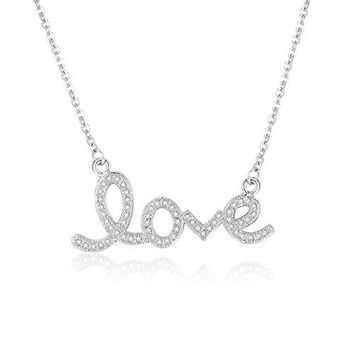 Cubic Zirconia Love Letters Necklace - Simple Horizontal Letters Bar Necklaces for Women