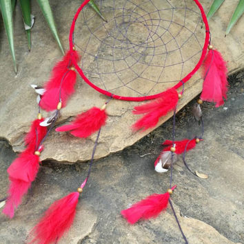 Red dream catcher, Navy blue web, red feathers and bead finish, hand made, large 10 inch