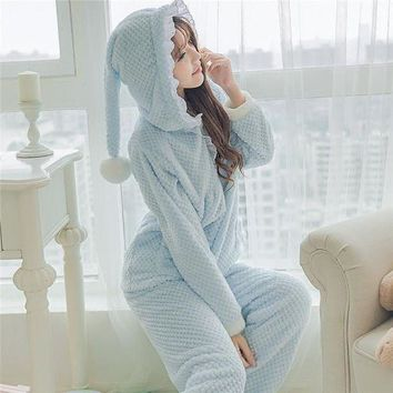 MDIGCI7 Fashion Women Pajama Set Cute Witch Pajamas with Hat Warm Flannel Coral Fleece Cute Sleepwear Women's Sleep Lounge Pajama 237