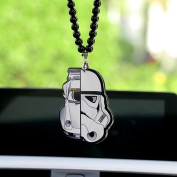 Creative Acrylic Star Wars Darth Vader Irregular Stitching Pendant Auto Car Storm Trooper Decoration Ornaments Necklace Gifts