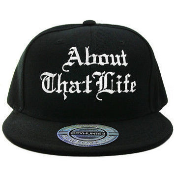 "Hip Hop ""ABOUT THAT LIFE"" Snapback CAP Hat One Size UNISEX Black & White"