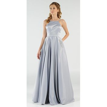 Silver Long Satin Prom Dress Halter Spaghetti Strap with Pockets