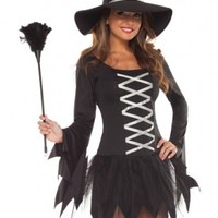 BLACK SILVER SWEETHEART WITCH COSTUME @ Amiclubwear costume Online Store,sexy costume,women's costume,christmas costumes,adult christmas costumes,santa claus costumes,fancy dress costumes,halloween costumes,halloween costume ideas,pirate costume,dance co