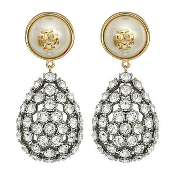 Tory Burch Crystal Pearl Statement Earrings