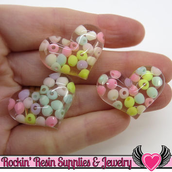 6pc Clear Pastel Bead HEARTS Flatback Kawaii Resin Cabochons 29x22mm