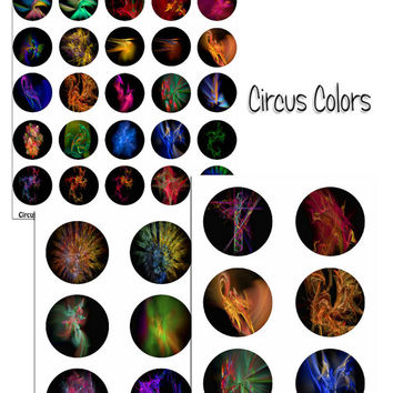 Circus Colors Fractal Art - - Digital Collage Sheets - 1.5 inch Circles for Jewelry Makers, Party Favors, Wedding Projects, Crafts