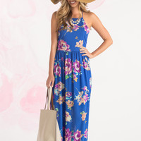 Judith Royal Blue Floral Maxi Dress by Everly