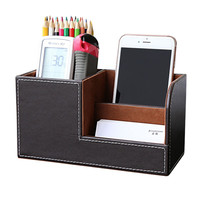 Home Office Desk  PU Leather Pen Pencil Box Holder Desktop Remote Storage Box Stationery Organizer Case Container