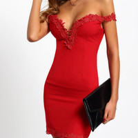 Red Sweetheart Neck Lace Slim Bodycon Dress -SheIn(Sheinside)