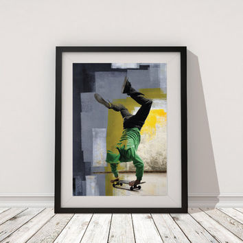 Skateboard Print Art, Urban Skateboard printable poster Wall Art, abstract digital poster print, INSTANT DOWNLOAD.