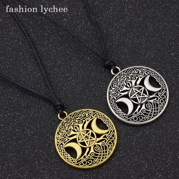 fashion lychee Vintage Triple Moon Goddess Tree Of Life Pendant Necklace Wiccan Pentagram Supernatural Amulet