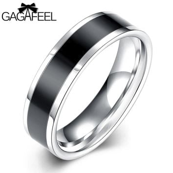 GAGAFEEL Men Ring Punk Cool Black Rings Vintage Finger Ring Stainless Steel Male Ring Men Fashion Jewelry For Men Gift Wedding