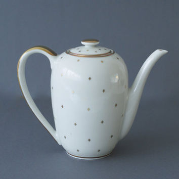 SUISSE LANGENTHAL PORCELAIN Teapot from the 1940s, Midcentury, Pretty White or Cream with Hand Painted Gold Detail, Made in Switzerland