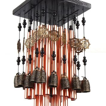 28 Metal Tube Wind Chime with Copper tubes brass Bell Large Wind chimes fW3089