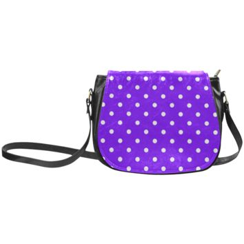 Women Shoulder Bag Polkadots Classic Saddle Bag Large