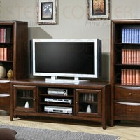 """3 pc Walnut finish wood 59"""" wide TV stand entertainment center wall unit"""