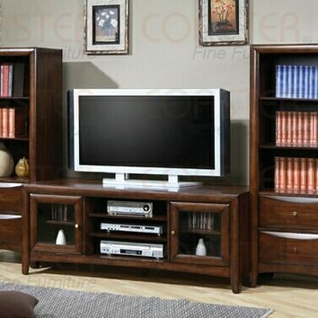 "3 pc Walnut finish wood 59"" wide TV stand entertainment center wall unit"