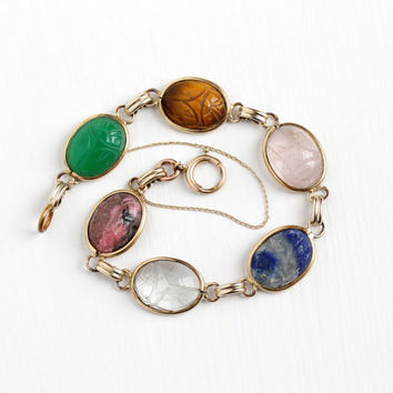 Vintage 12k Rosy Yellow Gold Filled Gemstone Scarab Bracelet - Retro 1950s Carved Beetle Lapis Lazuli Quartz Gem Egyptian Revival  Jewelry