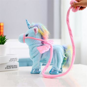 1pc Electric Walking Unicorn Plush Toy Stuffed Animal Toy Electronic Music Unicorn Toy for Children Christmas Gifts 35cm