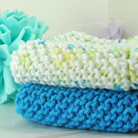 SALE - Hand Knit Cloths - Frosted Snowdrops - Cotton Dishcloth or Washcloth Set - Green Yellow White