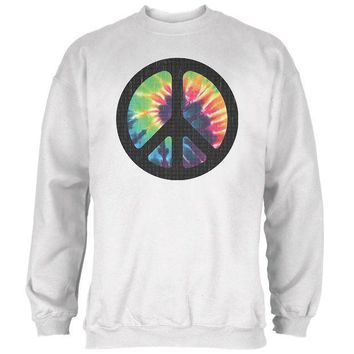 PEAPGQ9 Tie Dye Peace Sign Distressed Halftone Mens Sweatshirt