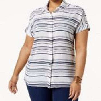 New Alfani Women's Cap Sleeve White Blue Striped Button Down Shirt Top Plus 18W