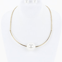 Pearl Chocker Necklace/ Earring Set in White