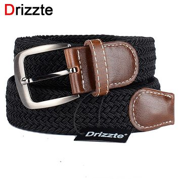 Drizzte Plus Size 130cm 150 160 170 180cm Long Black Braid Elastic Stretched Belt Mens Metal Buckle for Big and Tall Man