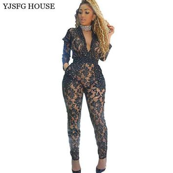 LMF78W YJSFG HOUSE Sexy Hollow Out Bodycon Jumpsuit Clubwear Black Sequin Party Bodysuit Elegant Women Lace Slim Perspective Rompers