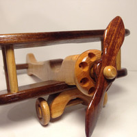 Wooden Bi Plane / Airplane Toy / All Natural / Handmade / A Natural Finish / Eco Friendly / Nursery Room /