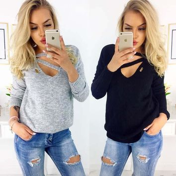 STYLEDOME Loose Sweater Knitted Long Sleeves Pullovers Jumper V-neck