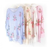 New 8 Color Oversized Star Floral Distressed Frayed Jumper Hole Knitwear Sweater