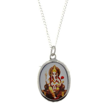 Ganesh Image On A Grey Background Enamel Oval Pendant - Size: 1.25 x 1 Inches - Necklace Included