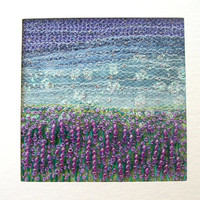 Embroidered art - Lavender field - beaded embroidered miniature landscape - fibre art card  -  french knots - 5 inch square card