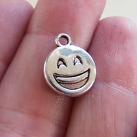8 Laughing emoji charms, smiling emoji charm, smile, smiley face charms, smiling face with open mouth eyes closed, emoji jewelry - F392