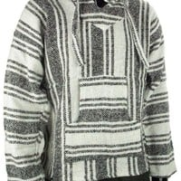 Mexican Baja Hoodie Sweater Jerga Pullover Gray White Unisex (Large)