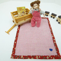 1:12 Scale Dollhouse Blanket, Red Check Bed Throw, Dolls House Miniatures, For Doll Baby, Miniature Toddler, Artisan Dollhouse, Inch Scale