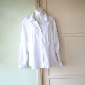 Nicely Tailored Classic White Button-Down Shirt - Plus Size 20 Long Sleeved Tailored Women's Shirt - 1X White Shirt - Office/Travel/Career