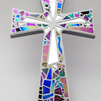 "Mosaic Wall Cross Iridescent + Textured Glass + Silver Mirror,  Handmade Stained Glass Mosaic Design, 12"" x  8"""