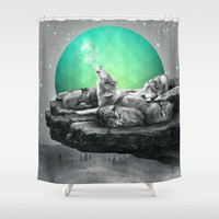 Echoes of a Lullaby / Geometric Moon Shower Curtain by Soaring Anchor Designs | Society6