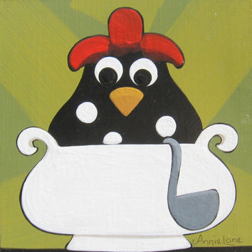CHICKEN SOUP - Whimsical Chicken Painting on Wood, Whimsical Rooster Art
