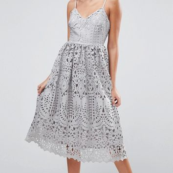 ASOS Heavy Lace Cami Midi Prom Dress at asos.com