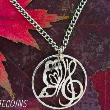 Butterfly Necklace, Music Jewelry, Handcrafted Cut Coin Necklace