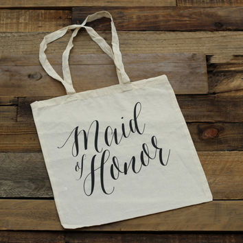 Maid of Honor Tote Bag - Natural Canvas - MOH Gift, Maid of Honor Gift, Wedding Tote Bags, Bridal Party Gift, Bridesmaid Gifts Totes