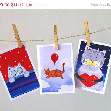 ON SALE Kitten greeting card set of 3 Funny cat painting Cute animal art for children Happy birthday cards Cute Lovely cat painting