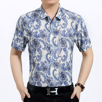 Summer Floral Shirt Short Sleeve Casual Slim Tops Blouse [6544773891]
