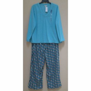 Charter Club Fleece Top and Pajama Pants Set 141152 Aqua Snow Dots XXXL