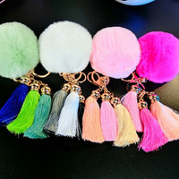 Winter Warm Gift Fur Ball Tassel Keychain Strap