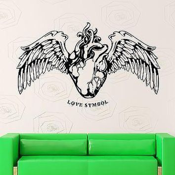 Wall Stickers Vinyl Decal Heart With Wings Love Symbol Decor For Bedroom Unique Gift (z2198)