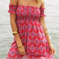 Red Tribal Print Off-Shoulder Shirring Mini Dress